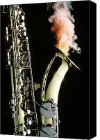 Brass Canvas Prints - Saxophone with smoke Canvas Print by Garry Gay