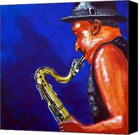 Saxaphone Painting Canvas Prints - Saxy Jazz Canvas Print by Richard Roselli