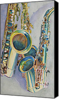 Saxaphone Painting Canvas Prints - Saxy Trio Canvas Print by Jenny Armitage