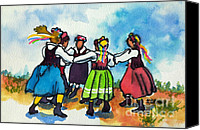 Blouse Canvas Prints - Scandinavian Dancers Canvas Print by Kathy Braud