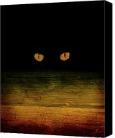 Cool Abstract Mixed Media Canvas Prints - Scare-d-cat Canvas Print by Shevon Johnson