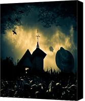 Spooky Photo Canvas Prints - Scarecrow Canvas Print by Bob Orsillo