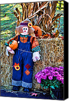 Kenny Canvas Prints - Scarecrow With Pumpkin Canvas Print by Kenny Francis