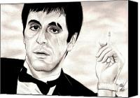 Michelle Drawings Canvas Prints - Scarface Canvas Print by Michael Mestas