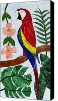 Mosaic Glass Art Canvas Prints - Scarlet Macaw Canvas Print by Charles McDonell