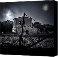 Halloween Scene Canvas Prints - Scary House Canvas Print by Stylianos Kleanthous