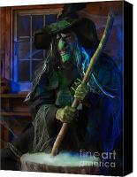 Haunted House Photo Canvas Prints - Scary Old Witch Canvas Print by Oleksiy Maksymenko