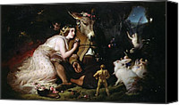 Donkey Painting Canvas Prints - Scene from A Midsummer Nights Dream Canvas Print by Sir Edwin Landseer