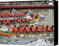 Rowers Canvas Prints - Scene from the Dragon Boat Races in Kaohsiung Taiwan Canvas Print by Yali Shi
