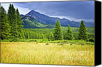 Stormy Photo Canvas Prints - Scenic view in Canadian Rockies Canvas Print by Elena Elisseeva