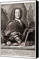 Noah Canvas Prints - Scheuchzer Portrait 17th/18thc Naturalist Canvas Print by Paul D Stewart
