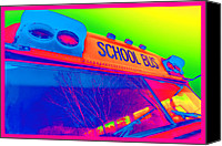 Crosswalk Digital Art Canvas Prints - School Bus Canvas Print by Gordon Dean II