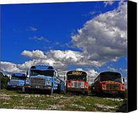 Vivid Colors Canvas Prints - School Bus Graveyard I Canvas Print by Elizabeth Hoskinson
