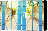School Yard Canvas Prints - School gate Canvas Print by Tom Gowanlock