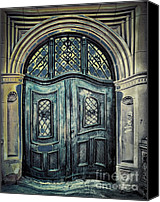 Entrance Door Canvas Prints - Schoolhouse Entrance Canvas Print by Jutta Maria Pusl