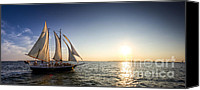 Charleston Sailboat Tours Canvas Prints - Schooner Welcome Sunset Charleston SC Canvas Print by Dustin K Ryan