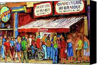 Montreal Street Life Canvas Prints - Schwartzs Deli Lineup Canvas Print by Carole Spandau