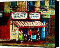Montreal Street Life Canvas Prints - Schwartzs Famous Smoked Meat Canvas Print by Carole Spandau