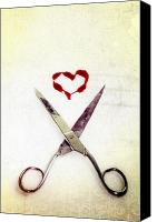 Blood Canvas Prints - Scissors And Heart Canvas Print by Joana Kruse