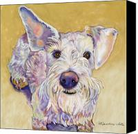Pet Portrait Pastels Canvas Prints - Scooter Canvas Print by Pat Saunders-White