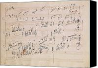 20th Century Canvas Prints - Score sheet of Moonlight Sonata Canvas Print by Ludwig van Beethoven