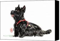 Scottie Dog Canvas Prints - Scottie Canvas Print by Debra Jones