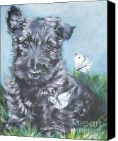 Scottie Dog Canvas Prints - Scottish Terrier with butterflies Canvas Print by Lee Ann Shepard