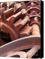 Old Wheel Canvas Prints - Scrap Metal Canvas Print by Yali Shi