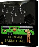 Throw Mixed Media Canvas Prints - Scream Basketball Canvas Print by Eric Kempson