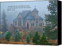 Church Photos Canvas Prints - Scripture and Picture Matthew 16 18 Canvas Print by Ken Smith