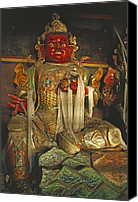 Tibetan Buddhism Photo Canvas Prints - Sculpture Of Wrathful Protective Deity Canvas Print by Gordon Wiltsie