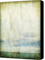 Old Wall Canvas Prints - Sea And Cloud On Old Grunge Paper Canvas Print by Setsiri Silapasuwanchai