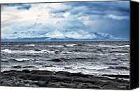 Mountain Scene Canvas Prints - Sea And Mountain In Winter Canvas Print by Bgdl
