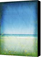 Materials Canvas Prints - Sea And Sky On Old Paper Canvas Print by Setsiri Silapasuwanchai