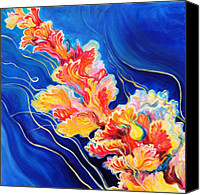 Jellyfish Painting Canvas Prints - Sea Blossom 1 Canvas Print by Leah Van Rees