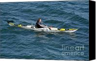 Photographs Photo Canvas Prints - SEA KAYAK man kayaking off the coast of Dorset England UK Canvas Print by Andy Smy