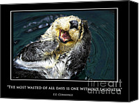 Otter Photo Canvas Prints - Sea otter motivational  Canvas Print by Fabrizio Troiani