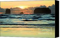Second Beach Canvas Prints - Sea Stack Sunset Canvas Print by Adam Jewell