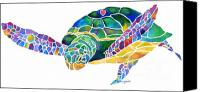 Canvas Greeting Cards Canvas Prints - Sea Turtle Celebration 4 Prints Only Canvas Print by Jo Lynch