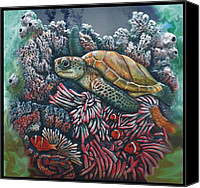 Fish Ceramics Canvas Prints - Sea Turtle Canvas Print by Tod Locke