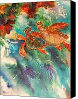 Jellyfish Painting Canvas Prints - Sea Turtles Canvas Print by Deborah Younglao