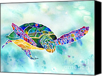 Watercolor Canvas Prints - Sea Weed Sea Turtle  Canvas Print by Jo Lynch