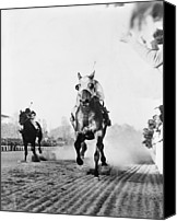Athletes Canvas Prints - Seabiscuit Acrossing The Finish Line Canvas Print by Everett