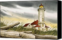 Point Wilson Lighthouse Canvas Prints - Seafarers Sentinel Canvas Print by James Williamson