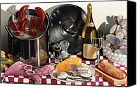 Still Life Canvas Prints - SEAFOOD SERENADE 1996  Skewed perspective series 1991 - 2000 Canvas Print by Larry Preston