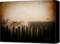 Pilings Canvas Prints - Seagulls of Old Pilings Portland Maine Canvas Print by Bob Orsillo