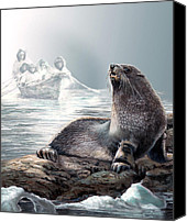 Realistic Art Canvas Prints - Seal on Icy shores Canvas Print by Gina Femrite