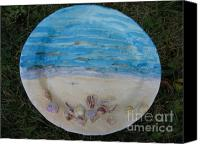 Plate Ceramics Canvas Prints - Seascape Canvas Print by Julia Van Dine