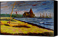 Featured Painting Special Promotions - Seaside Park NJ Yacht Club Canvas Print by Joann Renner