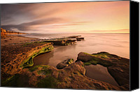 Sand Canvas Prints - Seaside Reef Sunset Canvas Print by Larry Marshall